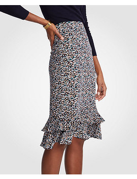 Petite Floral Ruffle Pencil Skirt by Ann Taylor