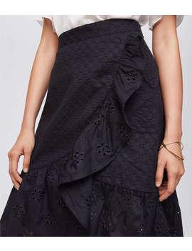 Eyelet Ruffle Wrap Skirt by Loft