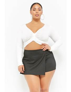 Plus Size Pinstriped Skort by Forever 21