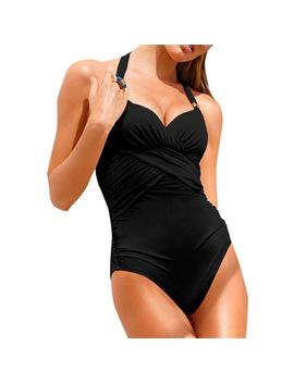 2017 Women Push Up Sexy One Piece Swimwear Black Pinkl Swimsuit Halter Folding Ruched Beach Bathing Suit Backless Bodysuit 3098 by Women's Swimwear Store