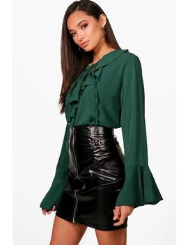 Annabelle Ruffle Tie Front Blouse by Boohoo