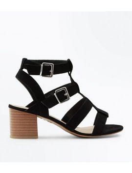 Wide Fit Black Suedette Gladiator Heeled Sandals by New Look
