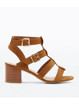 Wide Fit Tan Suedette Gladiator Heeled Sandals by New Look