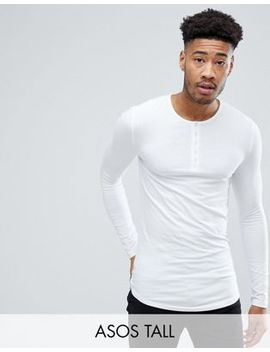 Asos Tall Muscle Fit Longline Grandad Lightweight T Shirt With Curve Hem by Asos