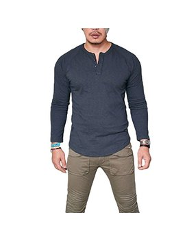 Xwda Henley Shirt Mens Long Sleeve Buttons T Shirt Casual Muscle Tops Tee Blouse by Xwda