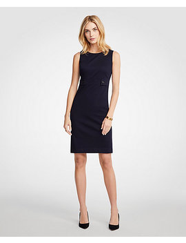 Cotton Sateen Button Tab Sheath Dress by Ann Taylor