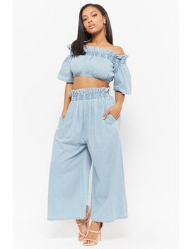 Denim Crop Top & Culotte Pants Set by Forever 21