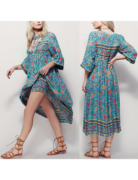 Womens Casual Boho Beach Floral Long Sleeve Loose Maxi Dress Tie V Neck Skirt by Unbranded