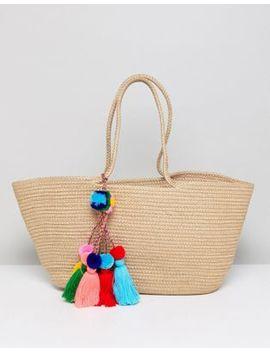 America & Beyond Muti Colored Tassel Jute Beach Bucket Bag by Cart