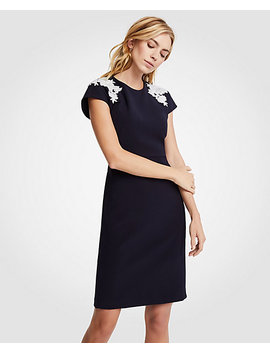 Petite Floral Applique Sheath Dress by Ann Taylor