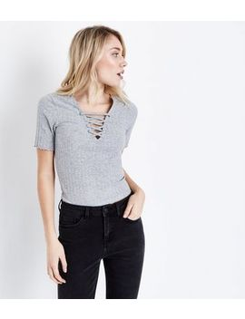 Petite Grey Lace Up Neck T Shirt by New Look