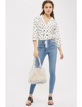 Moto Mid Blue Lace Fly Jamie Jeans by Topshop