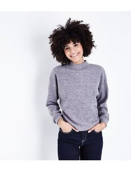 Pale Grey High Neck Balloon Sleeve Jumper by New Look