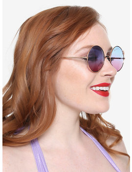 Rose Gold Mermaid Frame Gradient Lens Round Sunglasses by Hot Topic