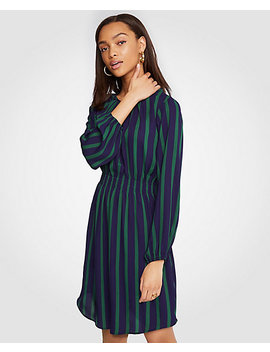 Stripe Gathered Flare Dress by Ann Taylor