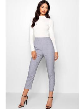 Yasmin Woven Dogtooth Slim Fit Trousers by Boohoo