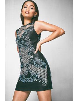 Premium Elisha Embroidered Pu Cold Shoulder Dress by Boohoo