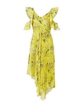 Cold Shoulder Asymmetric Floral Dress by Self Portrait