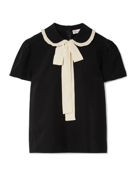 Pussy Bow Two Tone  Silk Crepe De Chine Blouse by Red Valentino