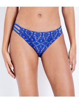 Blue Crochet Strappy Side Bikini Bottoms by New Look