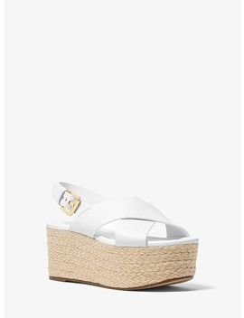 Jodi Leather Espadrille Wedge by Michael Michael Kors