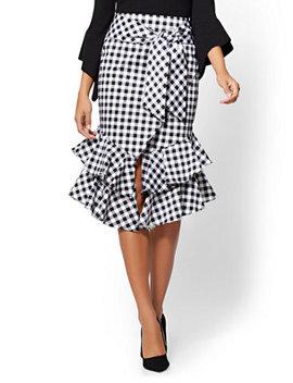 Gingham Poplin Wrap Skirt by New York & Company