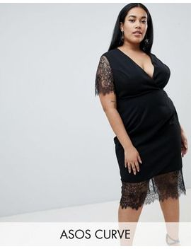 Asos Design Curve Pencil Dress With V Neck And Lace Sleeves And Hem by Asos Design