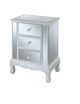 Gold Coast Vineyard 3 Drawer Mirrored End Table   Johar Furniture by Convenience Concepts