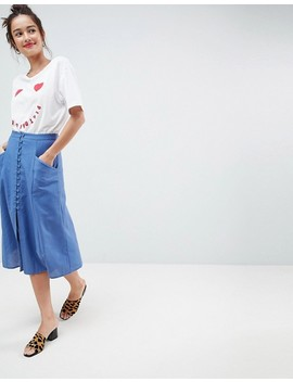 Asos Design Full Midi Skirt With Button Front by Asos Collection