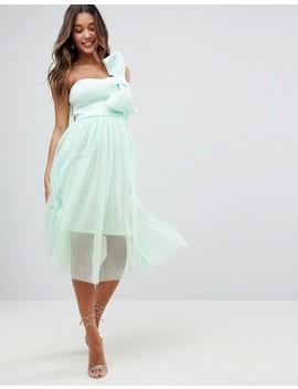 Asos Design Premium Scuba Bow Front Tulle Midi Dress by Asos Collection