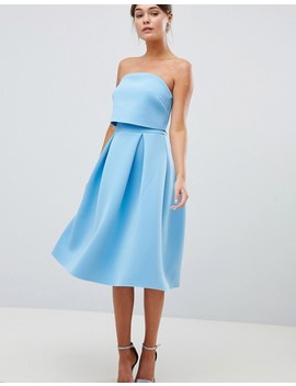 Asos Design Bandeau Crop Top Prom Midi Dress by Asos Design