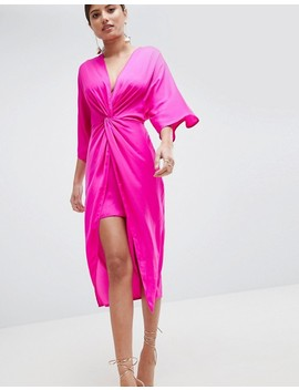 Asos Design Knot Front Kimono Midi Dress by Asos Design