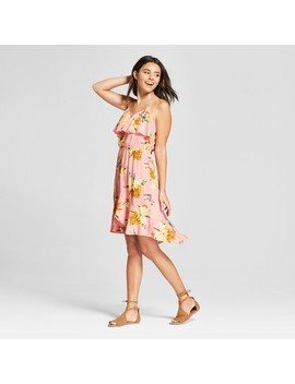 Women's Floral Print Sleeveless Ruffle Lace Up Back Dress   Xhilaration™ by Xhilaration™