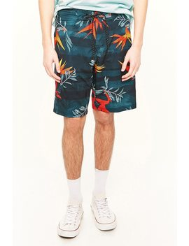 Ocean Current Floral Print Swim Trunks by Forever 21