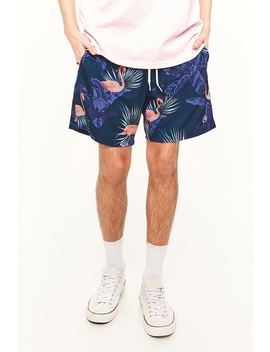 Ocean Current Flamingo Print Swim Trunks by Forever 21