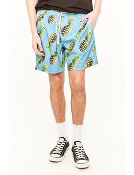 Ocean Current Pineapple Graphic Swim Trunks by Forever 21