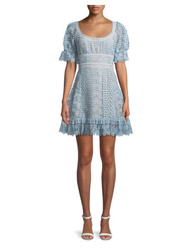 Floral Guipure Lace Short Sleeve Mini Cocktail Dress by Self Portrait