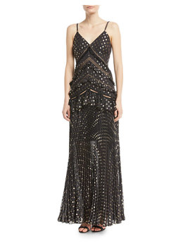 Metallic Chain Strap Polka Dot Pleated Maxi Dress by Self Portrait