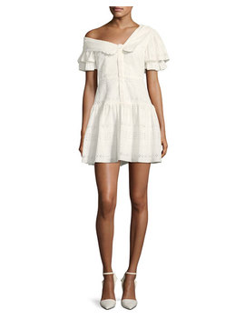One Shoulder Broderie Anglaise Mini Dress by Self Portrait