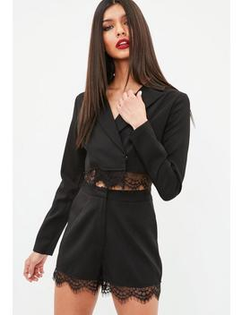 Black Cropped Lace Hem Blazer by Missguided
