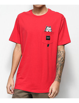 Huf X Felix The Cat Watching Pocket Red T Shirt by Huf