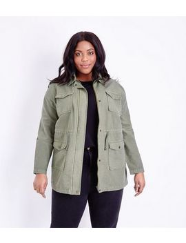 Curves Khaki Cotton Shacket by New Look