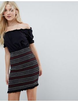 Asos Off Shoulder Sundress With Shirred Embroidered Skirt Panel by Asos Collection