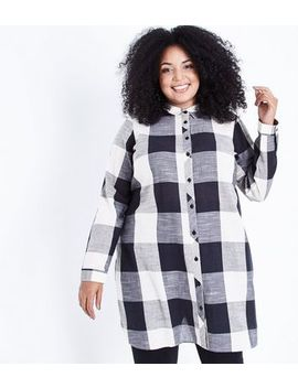 Curves Black Check Shirt Dress by New Look