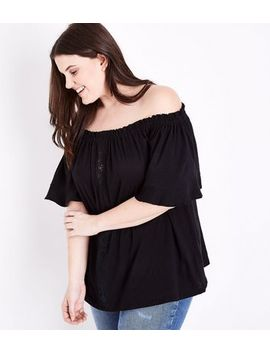 Curves Black Lace Panel Bardot Neck Top by New Look