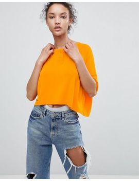 Asos Cropped Oversized T Shirt With Button Front by Asos Collection