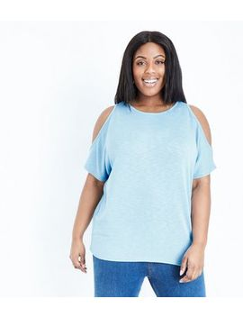 Curves Blue Cold Shoulder Fine Knit Top by New Look