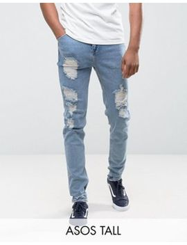 Asos Tall Tapered Jeans In Vintage Light Wash Blue With Heavy Rips by Asos