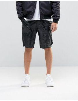 Asos Slim Long Length Nylon Shorts In Camo by Asos