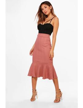 Tyla Peplum Hem Bandage Midi Skirt by Boohoo